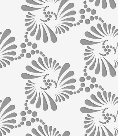 thee: Perforated flourish tear drops thee turn.Seamless geometric background. Modern monochrome 3D texture. Pattern with realistic shadow and cut out of paper effect. Illustration