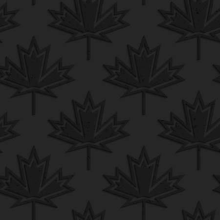 geometrical pattern: Black textured plastic maple leaves countered with inside.Seamless abstract geometrical pattern with 3d effect. Background with realistic shadows and layering. Illustration