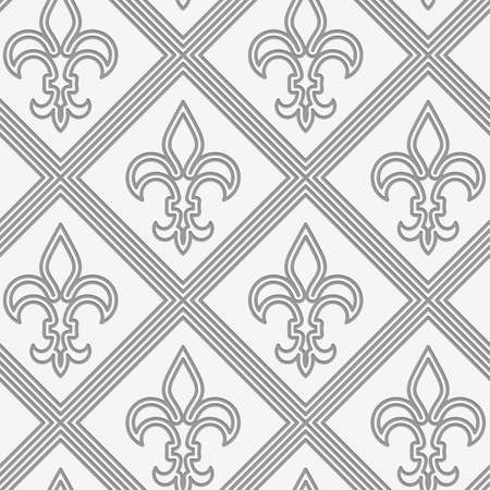 fleurdelis: Perforated double countered Fleur-de-lis.Seamless geometric background. Modern monochrome 3D texture. Pattern with realistic shadow and cut out of paper effect. Illustration