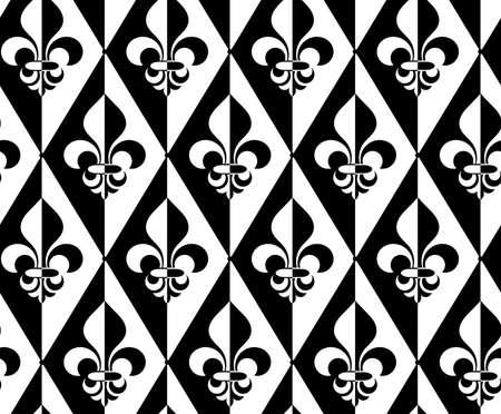 alternating: Black and white alternating Fleur-de-lis half and half dot.Seamless stylish geometric background. Modern abstract pattern. Flat monochrome design. Illustration