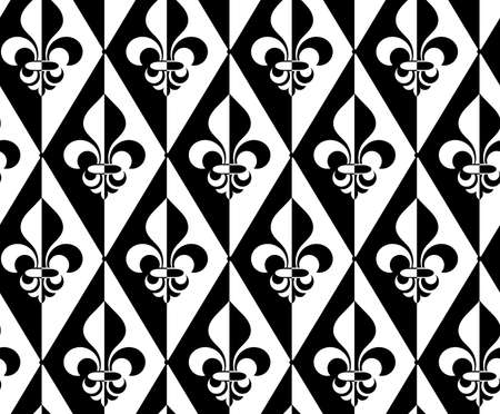Black and white alternating Fleur-de-lis half and half dot.Seamless stylish geometric background. Modern abstract pattern. Flat monochrome design. Illustration