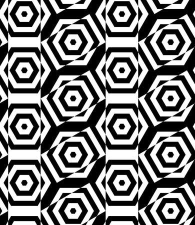 cut through: Black and white alternating rectangles cut through hexagons crossing.Seamless stylish geometric background. Modern abstract pattern. Flat monochrome design. Illustration