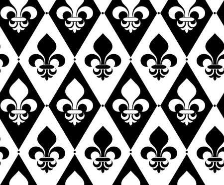 alternating: Black and white alternating Fleur-de-lis on diamonds with dots.Seamless stylish geometric background. Modern abstract pattern. Flat monochrome design.