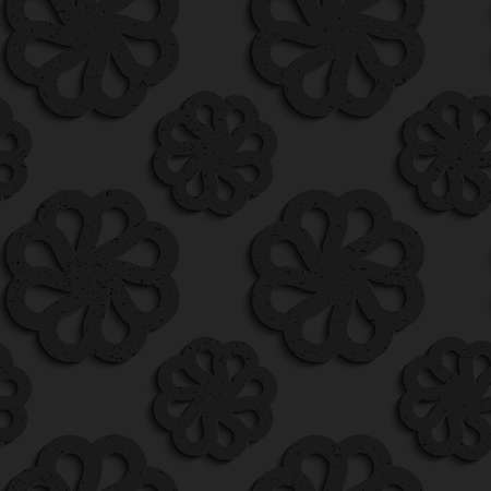 Black textured plastic flowers with rim.Seamless abstract geometrical pattern with 3d effect. Background with realistic shadows and layering.