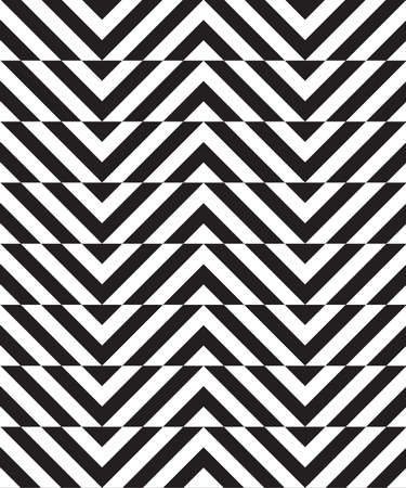 black fabric: Black and white alternating slim chevron with horizontal cut.Seamless stylish geometric background. Modern abstract pattern. Flat monochrome design. Illustration