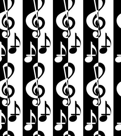 g clef: Black and white alternating G clef and music notes.Seamless stylish geometric background. Modern abstract pattern. Flat monochrome design. Illustration