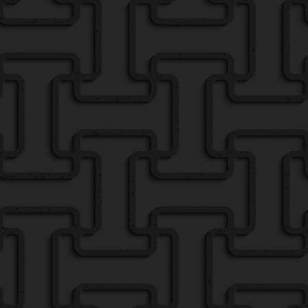 tillable: Black textured plastic double T grid.Seamless abstract geometrical pattern with 3d effect. Background with realistic shadows and layering.