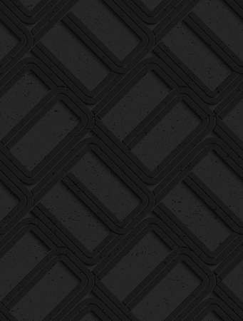tillable: Black textured plastic rounded rectangles .Seamless abstract geometrical pattern with 3d effect. Background with realistic shadows and layering.