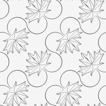 Perforated diagonal maple leaves on vine.Seamless geometric background. Modern monochrome 3D texture. Pattern with realistic shadow and cut out of paper effect. Ilustrace