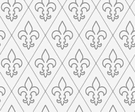 perforated: Perforated countered Fleur-de-lis.Seamless geometric background. Modern monochrome 3D texture. Pattern with realistic shadow and cut out of paper effect.