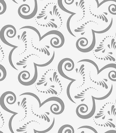 perforated: Perforated flourish with spirals.Seamless geometric background. Modern monochrome 3D texture. Pattern with realistic shadow and cut out of paper effect.