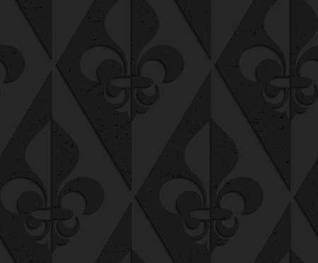 Zwarte geweven kunststof Fleur-de-lis half en half. Naadloos abstract geometrisch patroon met 3d effect. Achtergrond met realistische schaduwen en gelaagdheid.