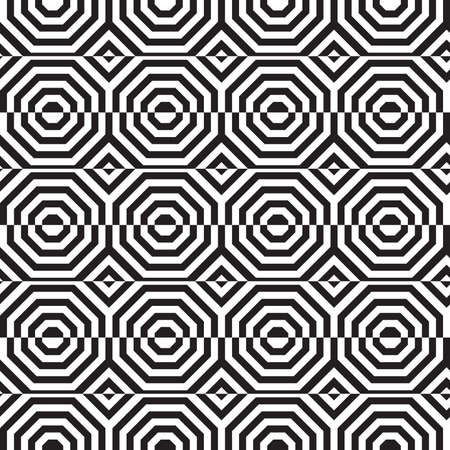 tillable: Black and white alternating octagons with horizontal cut.Seamless stylish geometric background. Modern abstract pattern. Flat monochrome design.