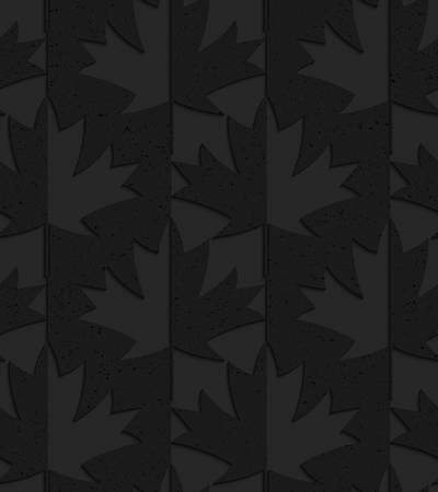 Black textured plastic maple leaves half and half.Seamless abstract geometrical pattern with 3d effect. Background with realistic shadows and layering. Ilustrace