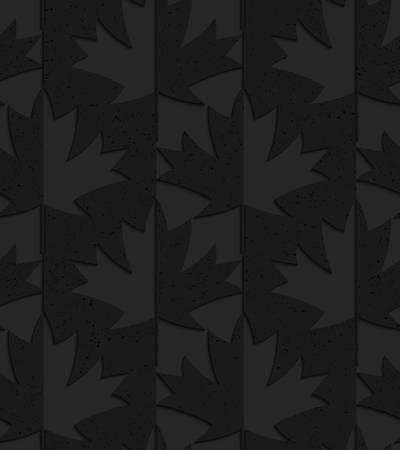 Zwarte geweven kunststof esdoorn bladeren helft en half.Seamless abstract geometrische patroon met 3D-effect. Achtergrond met realistische schaduwen en gelaagdheid.