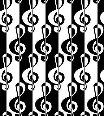 tillable: Black and white alternating G clef half and half.Seamless stylish geometric background. Modern abstract pattern. Flat monochrome design.