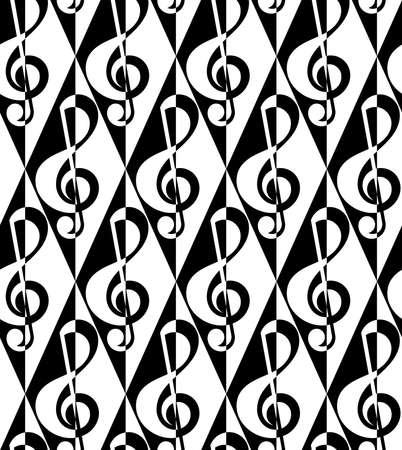 g clef: Black and white alternating G clef half and half on diamonds.Seamless stylish geometric background. Modern abstract pattern. Flat monochrome design. Illustration