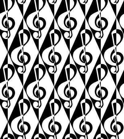 Black and white alternating G clef half and half on diamonds.Seamless stylish geometric background. Modern abstract pattern. Flat monochrome design. Illustration