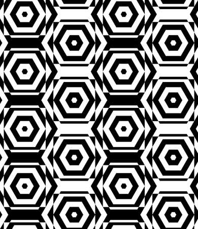 cut through: Black and white alternating squares cut through hexagons vertical.Seamless stylish geometric background. Modern abstract pattern. Flat monochrome design.