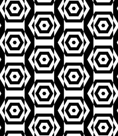 cut through: Black and white alternating rectangles cut through hexagons vertical.Seamless stylish geometric background. Modern abstract pattern. Flat monochrome design.