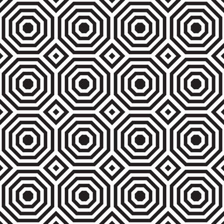 Black and white alternating octagons with squares.Seamless stylish geometric background. Modern abstract pattern. Flat monochrome design.
