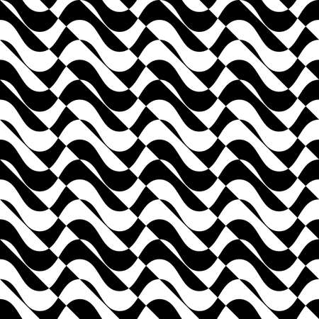 alternating: Black and white alternating waves with diagonal cut.Seamless stylish geometric background. Modern abstract pattern. Flat monochrome design. Illustration