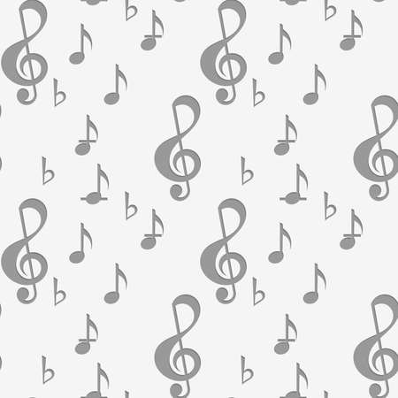 g clef: Perforated G clef and music notes.Seamless geometric background. Modern monochrome 3D texture. Pattern with realistic shadow and cut out of paper effect.