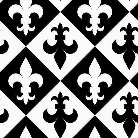 fleurdelis: Black and white alternating Fleur-de-lis up and down.Seamless stylish geometric background. Modern abstract pattern. Flat monochrome design.