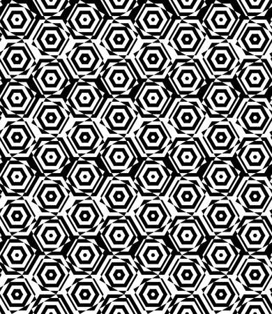 cut through: Black and white alternating small squares cut through hexagons.Seamless stylish geometric background. Modern abstract pattern. Flat monochrome design.
