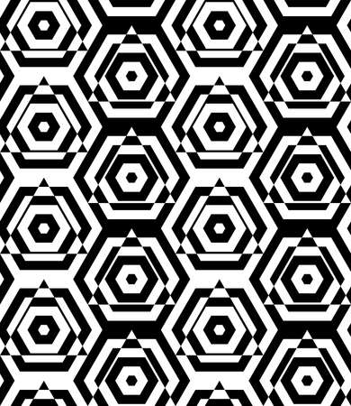 cut through: Black and white alternating triangles cut through hexagons.Seamless stylish geometric background. Modern abstract pattern. Flat monochrome design.