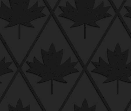 geometrical pattern: Black textured plastic solid maple leaves.Seamless abstract geometrical pattern with 3d effect. Background with realistic shadows and layering. Illustration