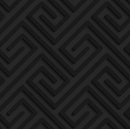 Black textured plastic rectangle spirals fastened .Seamless abstract geometrical pattern with 3d effect. Background with realistic shadows and layering.