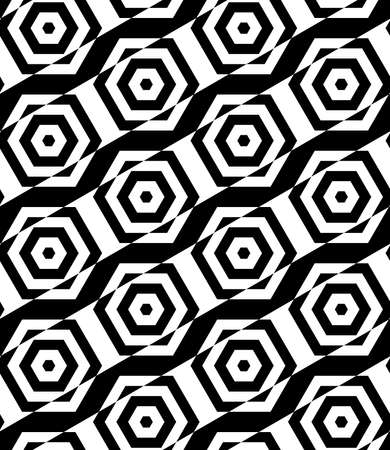 tillable: Black and white alternating rectangles cut through hexagons diagonal.Seamless stylish geometric background. Modern abstract pattern. Flat monochrome design.