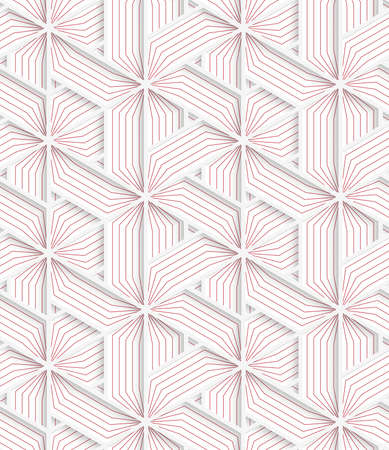 grid paper: White 3D with colors triangular grid with red.Abstract geometrical background. Pattern with cut out paper effect and realistic shadows.