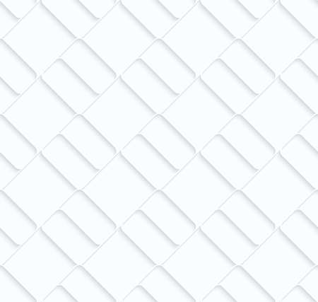 Quilling paper diagonal bricks.White geometric background. Seamless pattern. 3d cut out of paper effect with realistic shadow. Illustration
