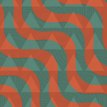 dimentional: Retro 3D green and brown diagonal waves with texture and triangles.Abstract layered pattern. Bright colored background with realistic shadow and thee dimentional effect. Illustration