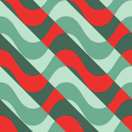 thee: Retro 3D red waves with green parts.Abstract layered pattern. Bright colored background with realistic shadow and thee dimentional effect. Illustration