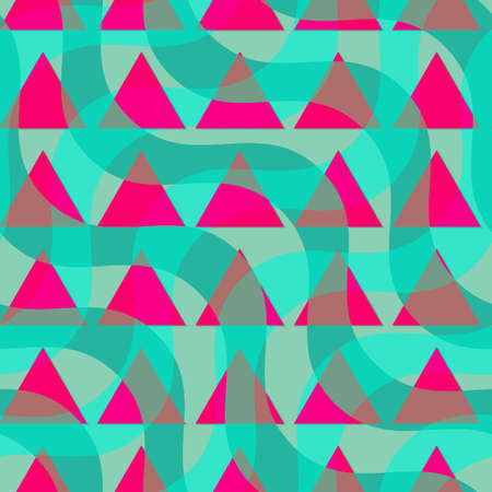 dimentional: Retro 3D green waves and purple triangles.Abstract layered pattern. Bright colored background with realistic shadow and thee dimentional effect.