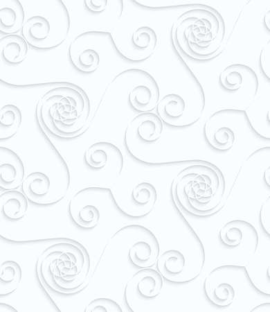Quilling paper many spirals.White geometric background. Seamless pattern. 3d cut out of paper effect with realistic shadow.