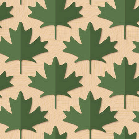yellowish: Retro fold deep green maple leaves.Retro fold green maple leaves .Abstract geometrical ornament. Pattern with effect of folded paper with realistic shadow. Vintage colored simple shapes on textured background.