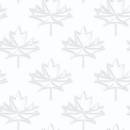 quilled shapes: Quilling paper countered maple leaves with veins.White geometric background. Seamless pattern. 3d cut out of paper effect with realistic shadow.