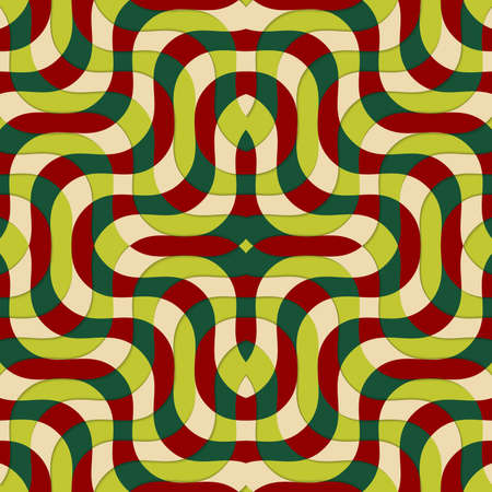 thee: Retro 3D red green and yellow overlapping waves.Abstract layered pattern. Bright colored background with realistic shadow and thee dimentional effect.