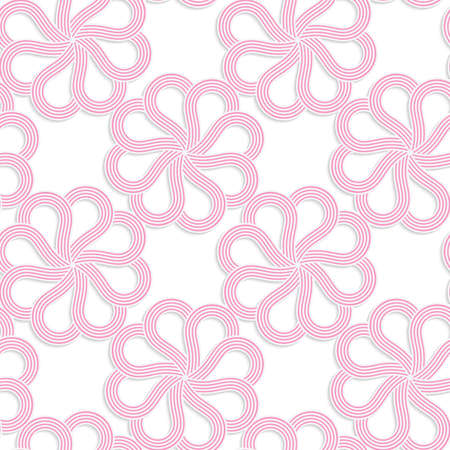 cut out paper: White 3D with colors pink flowers.Abstract geometrical background. Pattern with cut out paper effect and realistic shadows.