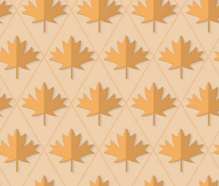 yellowish: Retro fold light brown maple leaves.Abstract geometrical ornament. Pattern with effect of folded paper with realistic shadow. Vintage colored simple shapes on textured background. Illustration