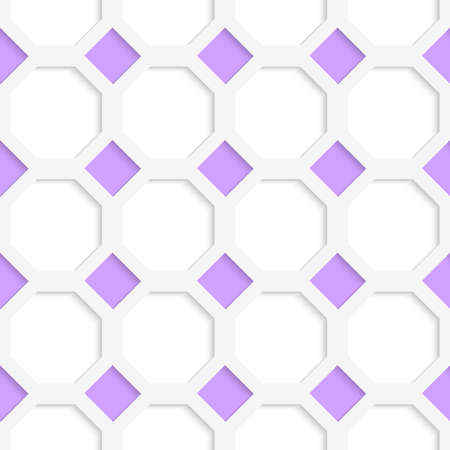 cut out paper: White 3D with colors purple diamonds.Abstract geometrical background. Pattern with cut out paper effect and realistic shadows.