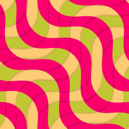 coloured background: Retro 3D magenta green overlapping waves.Abstract layered pattern. Bright colored background with realistic shadow and thee dimentional effect.