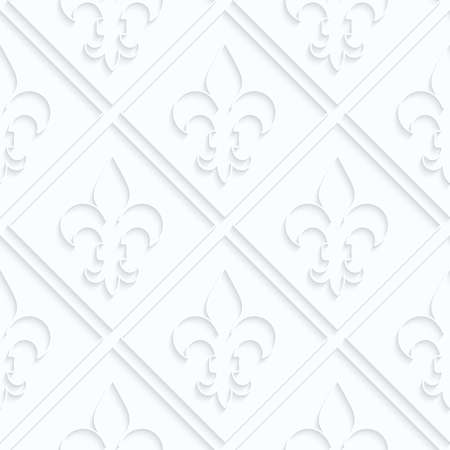 Quilling paper Fleur-de-lis with grid.White geometric background. Seamless pattern. 3d cut out of paper effect with realistic shadow.