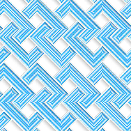 cut out paper: White 3D with colors blue striped brackets.Abstract geometrical background. Pattern with cut out paper effect and realistic shadows. Illustration