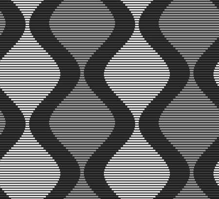 Shades of gray striped dark and light bulging waves on dark.Seamless stylish geometric background. Modern abstract pattern. Flat monochrome design.
