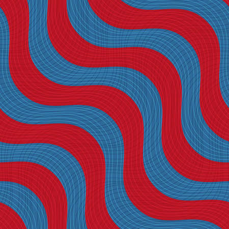 thee: Retro 3D blue red waves with texture.Abstract layered pattern. Bright colored background with realistic shadow and thee dimentional effect. Illustration